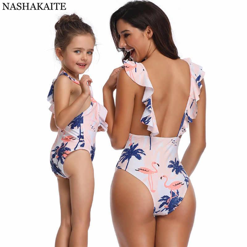 Nachakaite/купальник для мамы и дочки, кокосовое дерево и фламинго, летний Цельный купальник, одинаковые купальники для всей семьи