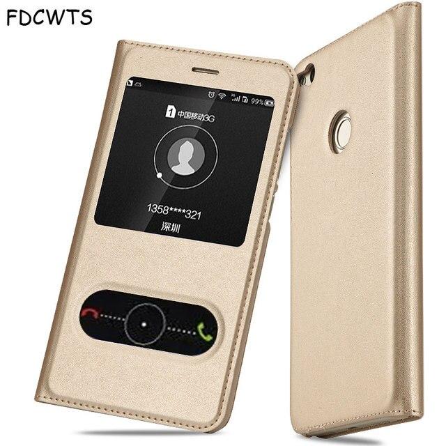 FDCWTS עבור Huawei P8 לייט 2017 קייס הכבוד 8 Lite כיסוי Flip חלון יוקרה ארנק חזרה כיסוי טלפון כיסוי עור לכבוד 8 לייט