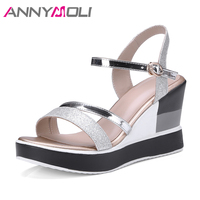 ANNYMOLI Ladies Shoes Wedges Women Sandals 2018 Summer Platform High Heels Shoes Ankle Strap Bling Party Shoes Sandals Silver