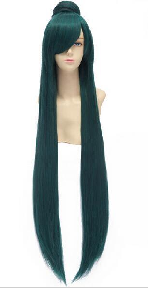 women's Hair full wigs Hot selling> suyushun3447851++Anime Sailor <font><b>Moon</b></font> Sailor Pluto Meiou Setsuna 100cm Long Straight Green <font><b>Peru</b></font>