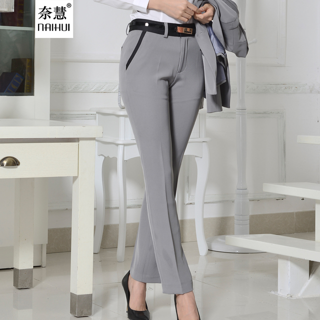 8fefb307974a Quality OL Style Brand New Formal Pants Women Work Wear Office Career Slim  Gray Long Straight