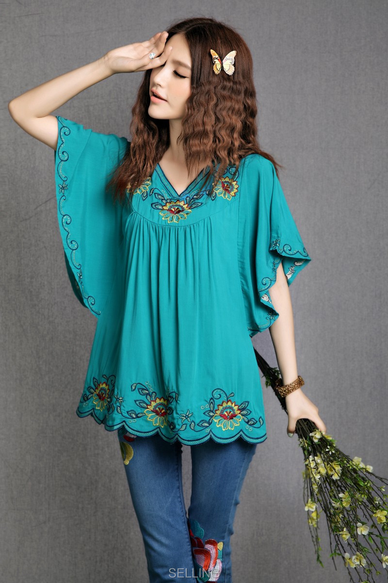 bbb85238593cd Women Dress Cotton Tops Blouse Tunic Vestidos Vintage Mexican Ethnic ...