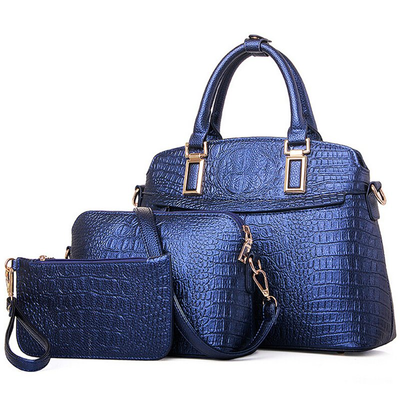 Elegant Crocodile Handbag Composite Leather Bag Women Handbag Shoulder Crossbody Bag Handbag+Messenger Bag+Wallet 3 sets W16-02 osmond fashion women handbag bags sets stone leather crossbody messenger bag shoulder bag day clutches wallet
