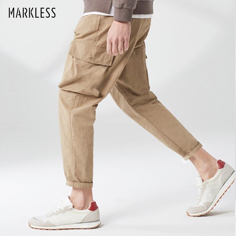Markless wielu kieszeń Cargo spodnie mężczyźni 2019 wiosna jednolity kolor na co dzień męskie spodnie odzież sportowa pantalones hombre CLA9810M w Bojówki od Odzież męska na  Grupa 1