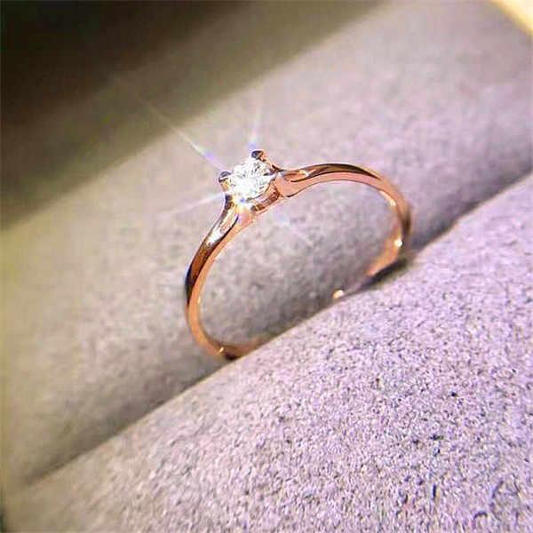 Boho หญิงคริสตัล Zircon แหวนหินน่ารัก 925 เงิน Rose Gold สีนิ้วมือแหวนสัญญาหมั้นแหวน