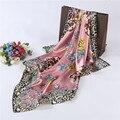 Alta qualidade senhoras moda selvagem leopardo cachecol xale cachecol rosa pequeno verão ar condicionado xaile do lenço 90*90 centímetros