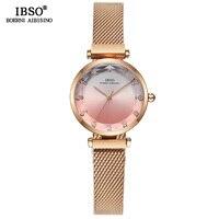 IBSO Hit Color Watches For Female Fashion Cut Glass Design Women Quartz Watch Ladies Magnet Buckle Wrist Watches Montre Femme