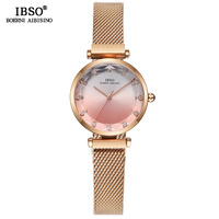 IBSO Hit Color Watches For Female Fashion Cut Glass Design Women Quartz Watch Ladies Magnet Buckle Wrist Watches Montre Femme
