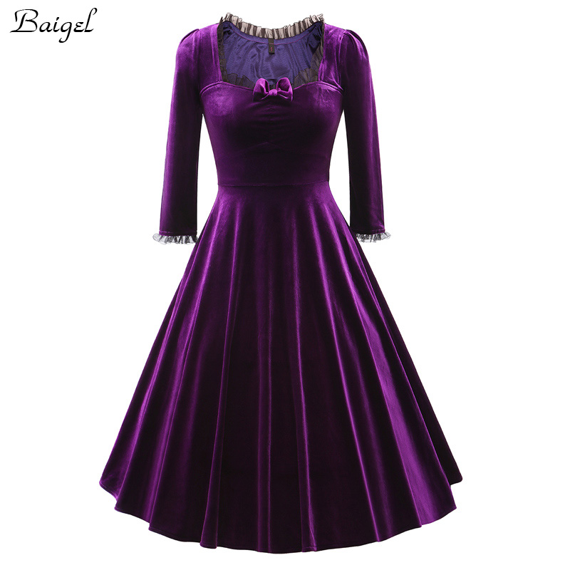 Womens Winter Long Sleeve Velvet Dress Black Red Purple Vintage 40s 1950s 60s Style Rockabilly Swing Party Dresses Plus Size 3XL (1)