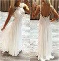 Moda de nova Branco Chiffon A Linha de Vestidos de Noite Longo 2017 Sexy Backless Frisada Prom Formal Vestido de Noite Vestido de Robe de soirée