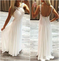 New Fashion White Chiffon A-Line Evening Dresses Long 2017 Sexy Backless Beaded Prom Formal Evening Gown Dress Robe de soiree
