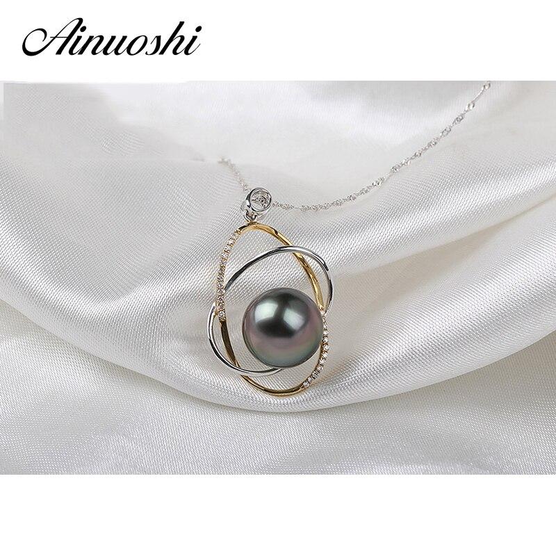 AINUOSHI Mode 925 Sterling Argent Or Jaune Couleur de Fiançailles Collier Pendentifs Tahiti Noir Perle 11mm Perle Ronde Pendentifs