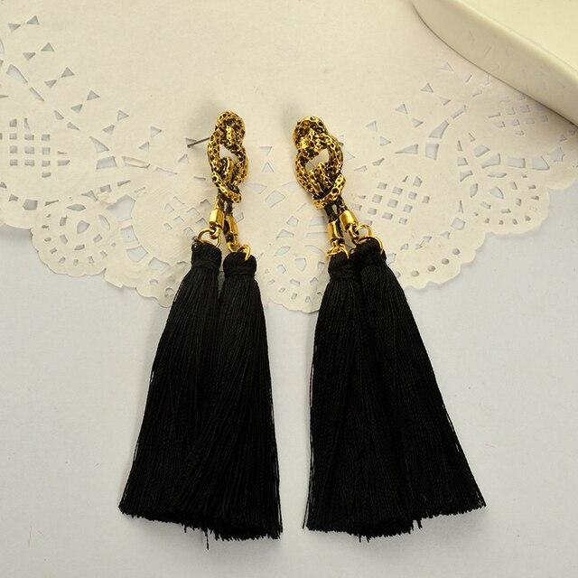 Женские винтажные серьги подвески длинные висячие с кисточками