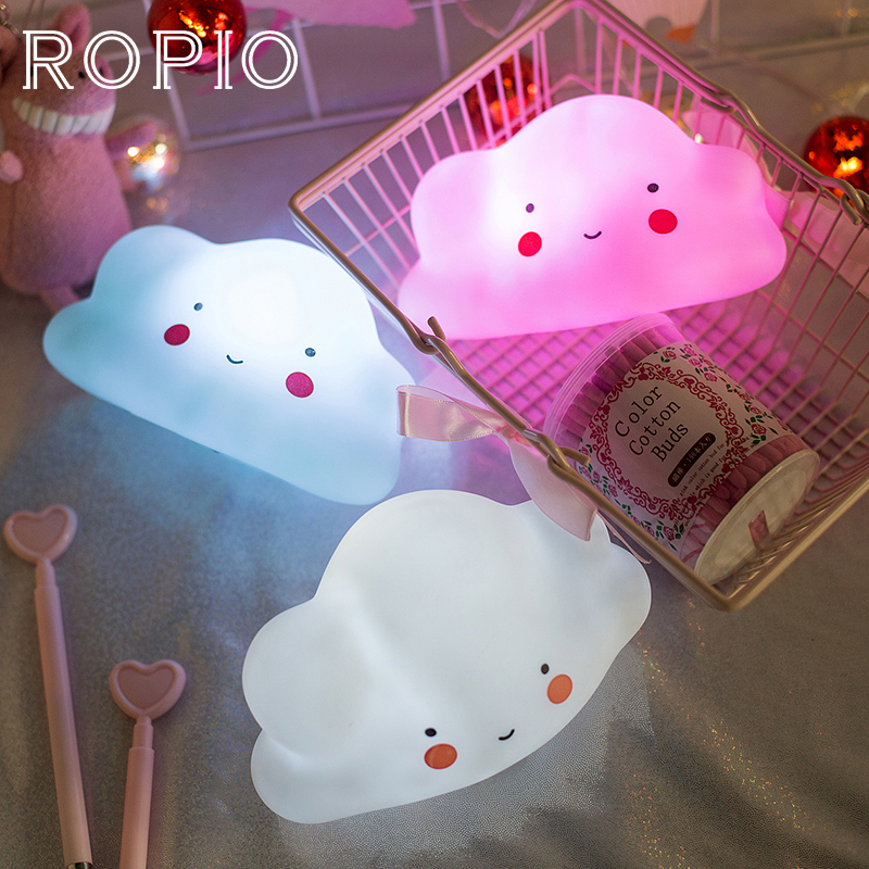 ROPIO Lovely Led Night Light Silicone Cloud Night Lamp Mood Light Baby Nursery Lamp Children Gift For Kids Bedside Bedroom creative cute green cartom car led night light for children baby kids white warm white bedside lamp resin night lamp gift