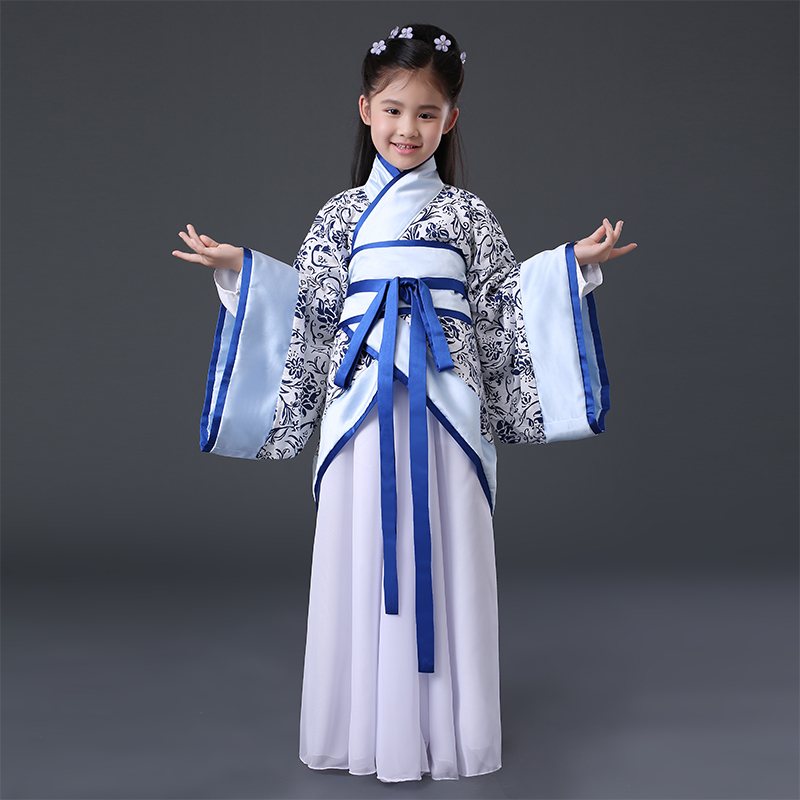 Girls Ancient Chinese Traditional National Chinese Costume Hanfu Dress Princess Children Cosplay China Clothing Folk Kids DN2125