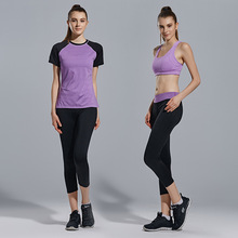 3 piece Yoga Sets Women's tracksuit yoga pants and T-shirt sportswear set sport costumes for women Elastic Fitness B