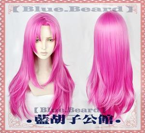 Image 2 - Anime  JOJOs Bizarre Adventure Golden Wind Diavolo Wigs Long Rose Red Heat Resistant Synthetic Hair Cosplay Wigs + Wig Cap