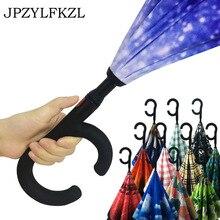 Hot C Handle Reverse Folding Umbrella Man Women Sun Rain Car Semi-automatic Umbrellas Double Layer Anti UV Self Stand Parapluie