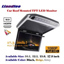 17.3 Inch 1080P HD Car Roof Mounted Monitor / Overhead Ceiling TFT LED Screen / Flip Down Display / MP5 Player Digital Color TV цена и фото