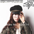 Free shipping wholesale leather  navy cap student hat sailor hat high quality fashion