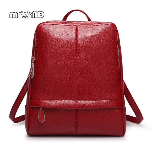 MIWIND Backpack Women Leather Bag High Quality Women Backpack Free Shipping Leather Backpack Mochila Feminina