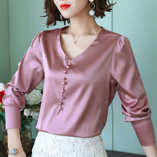 Women Tops and Blouses Casual Silk Blouse Long Sleeve Blusa Feminina Shirts Solid Plus Size XXXL Elegant Ladies