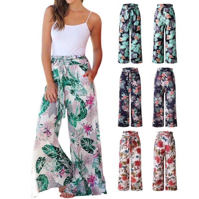 New Women   pants   women Summer Print Loose   Wide     Leg     pants   women Loose Elastic High Waist Straight Casual   Pants   pantalones mujer