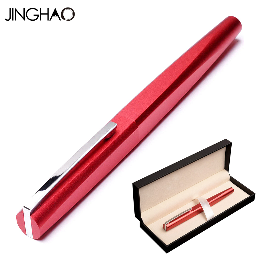 Jinghao KACO SQUARE Serise Charming Red Rollerball Pen with Silver Clip 0.5mm Black Refill Metal Ballpoint Pens for Writing цена