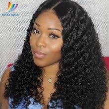 Sevengirls brasileiro molhado e ondulado preplucked perucas completas do laço cor natural abacaxi onda virgem perucas de cabelo humano frete grátis
