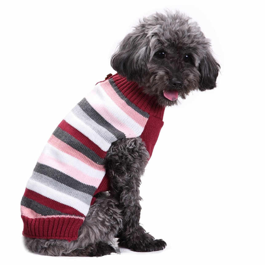 TAILUP Pet Sweater Striped Knitted Jumper Winter Warm Sweater Puppy Dog Clothing Drop Shipping 5#