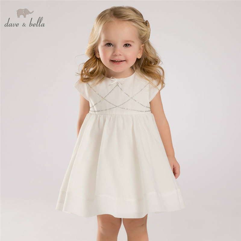 DB3416 dave bella summer baby girl princess dress baby wedding dress kids birthday clothes dress korean toddler girl dress kids baby girl linen summer clothings princess fashion kids clothes