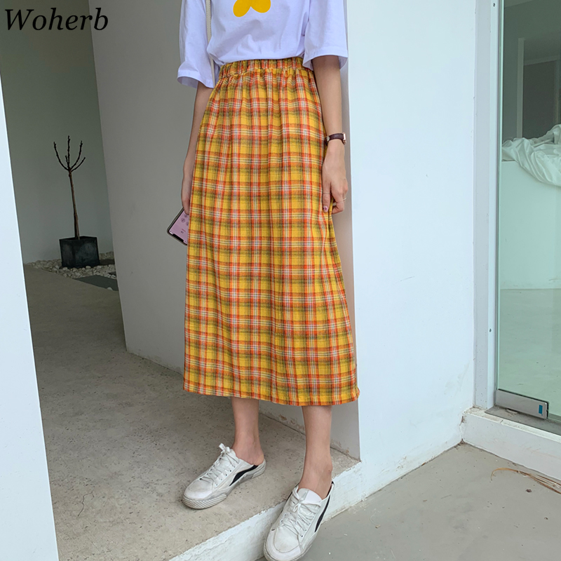 Woherb 2020 Summer High Waist Plaid Skirts Womens Korean Chic Long Faldas Girls Vintage A-line Skirt Robe Femme 22546