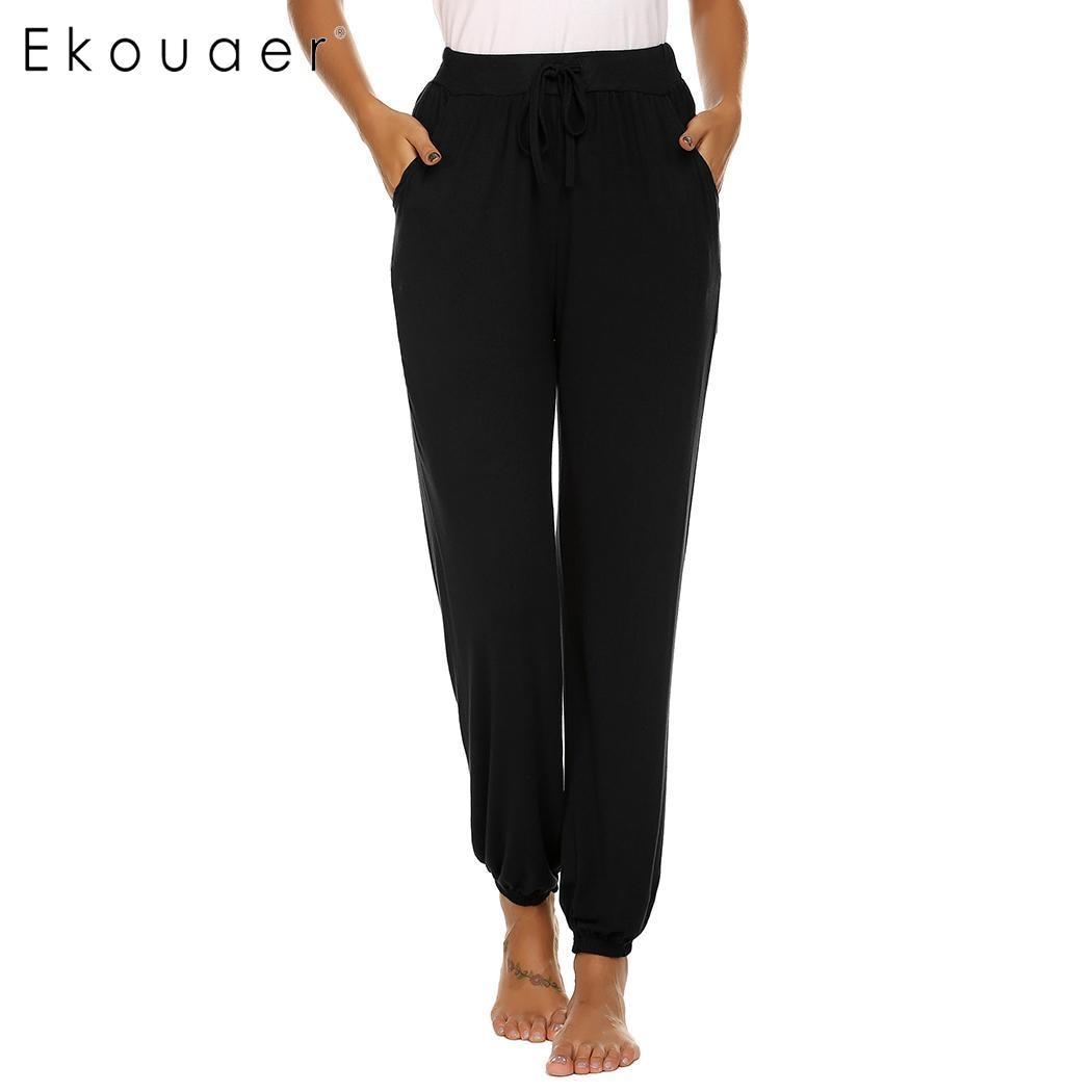 Ekouaer женский эластичный шнурок на талии длинный искусственный шелк пижама Нижняя Lounge нижнее белье брюки для сна мягкая одежда для сна - Цвет: Black