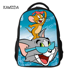 Famous Cartoon Character TOM and JERRY Printing School Backpack Bag Kids Large Schoolbag Bookbag Bagpack for Boys Girls 2019 new