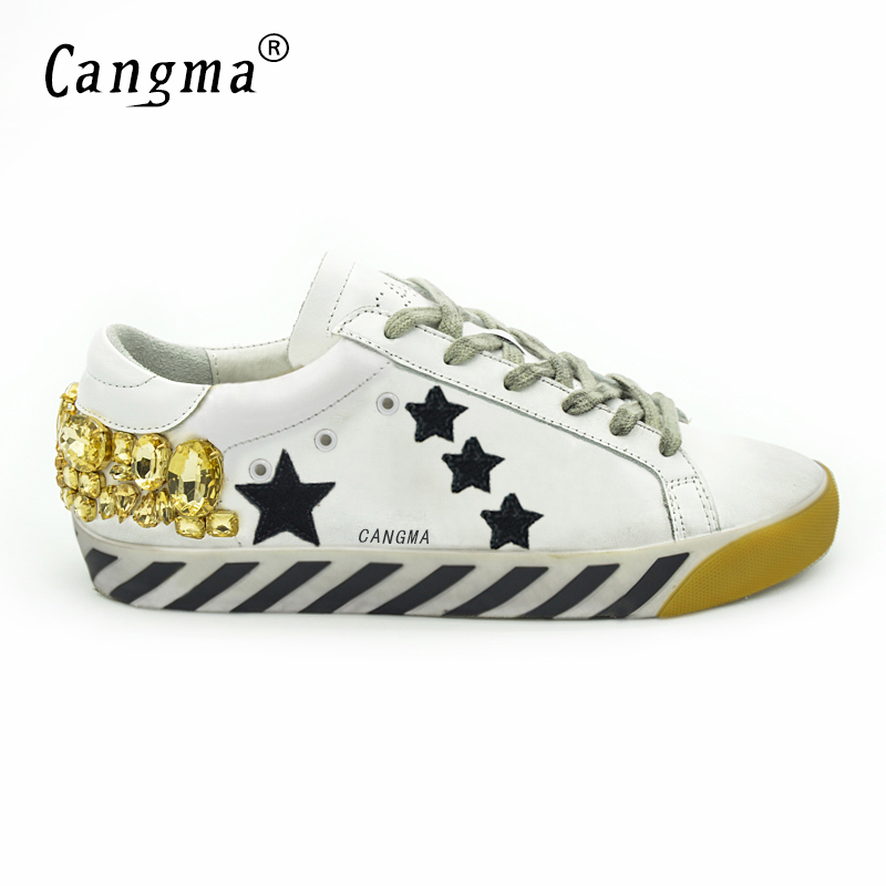 CANGMA Original Italy Deluxe Brand Superstar Men Shoes Genuine Leather Crystal Man Diamond White Shoes Scarpe Male italian 2017 cangma original italy deluxe brand men golden shoes women handmade silver genuine leather goose shoes scarpa stella sapato 2017