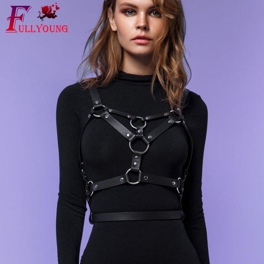 Fullyoung Leather Harness Bdsm Punk Chest Bondage Intimo Pastel Goth Rave Body Bondage Woman's Lingerie Thigh Adjustable  Straps