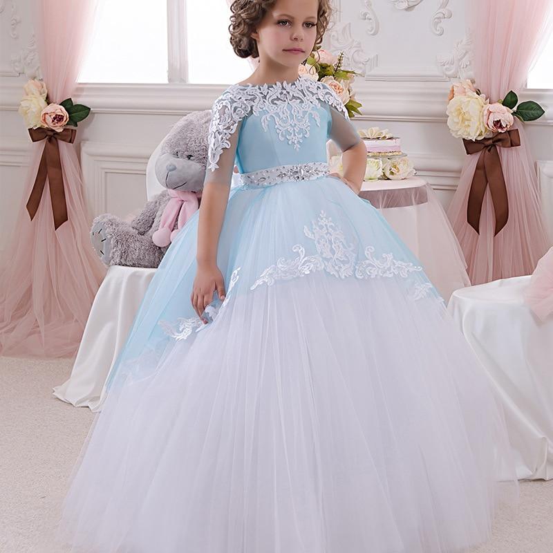Filles robe de noël robe de mode à manches courtes vêtements pour enfants bleu et blanc vêtements Style Europe et amérique