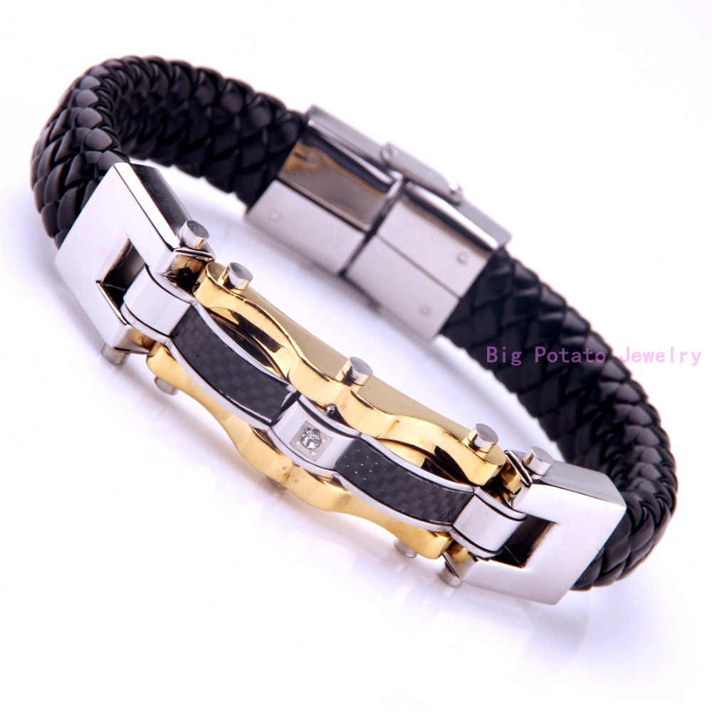 Perfect Technology Vintage Black/Brown Leather Silver Gold Black Charming Men Boy Bracelet Cuff Jewelry 316L Stainless Steel 48g