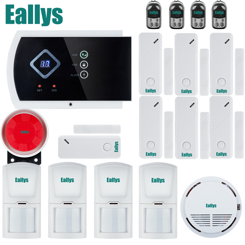 Free shipping!! App Controlled Wireless GSM Home Security Fire Alarm System+7 door sensor+4 PIR+ Smoke Sensor CE wireless service call bell system popular in restaurant ce passed 433 92mhz full equipment watch pager 1 watch 7 call button