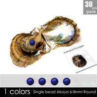 30PCS 6 7mm Royal blue round Akoya pearls for jewelry making wholesale pearls in oyster