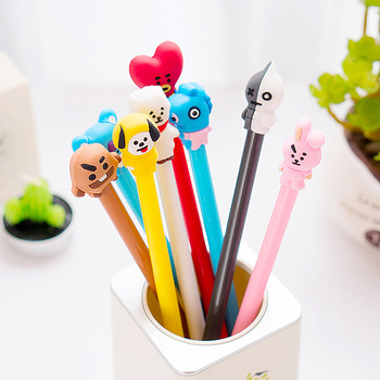 8 Style BT21 BTS Bangtang Boys Marker Pencil Shooky Tata Chimmy Rj Cooky Painting Tool Kawaii Stationery Gel Pens for School stuffed toy