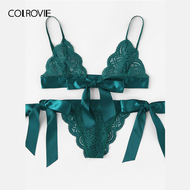 COLROVIE Green Tie Side Scalloped Trim Ribbon Lace Lingerie Set 4