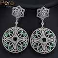 2017 Unique Design Big Round Created Emerald CZ Jewelry Elegant Women Long Dropping Wedding Party Earrings With Green Stone E149