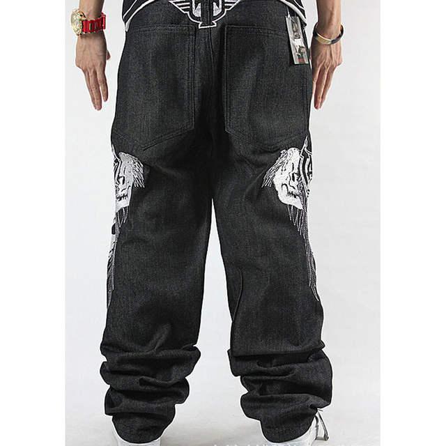 8b74cac5 Online Shop Men's Loose Jeans Skull Embroidery Hip-hop Rap HIPHOP  Skateboard Pants Dance Baggy Jeans Denim Pants Straight Jeans Size 30-42 |  Aliexpress ...