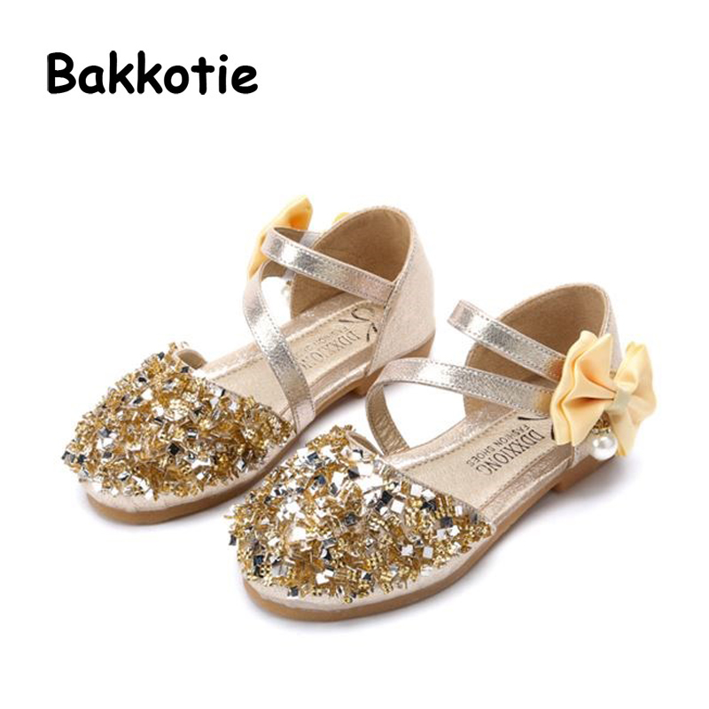 Bakkotie 2018 Spring New Baby Girl Fashion Princess Pearl Bow Shoe Toddler Pu Leather Children Brand Glitter Flat Mary Jane kid