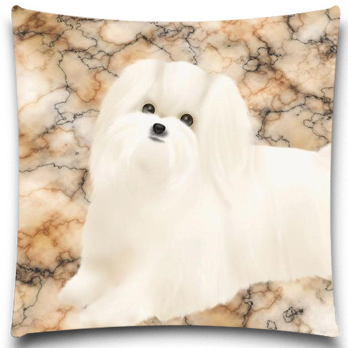 White beautiful dog on the floor Pillows Case Cotton Polyester for Sofa Car Cushion Cover Christmas gift 5 size