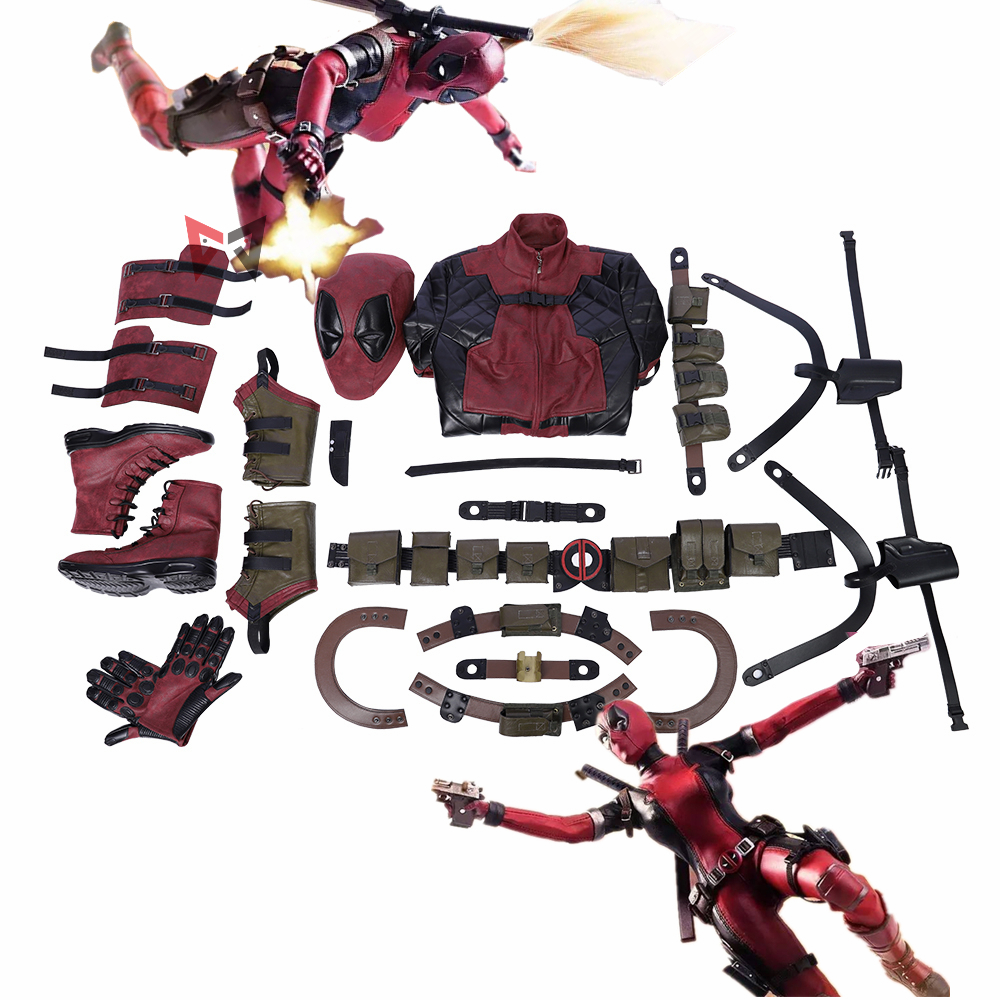 Deadpool Cosplay Costume Parts Kids Women Custom Made Size Leather Jumpsuits Fancy Belt Shoes Set For Christmas Halloween