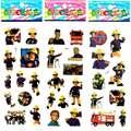 10 pçs/lote Seguro Educacional Figura Dos Desenhos Animados Fireman Sam Bombeiro Bolha Adesivos De Espuma Inchado Etiqueta DIY Adesivos Para Caçoa o Presente