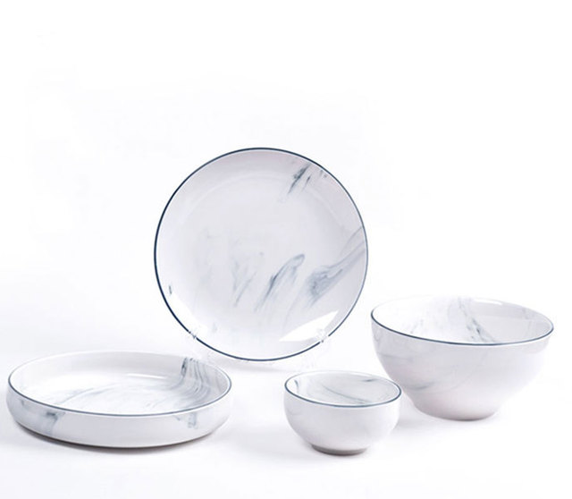 1pc Plate dishes kitchen dinnerware marble grain dishes food tray rice bowl kitchen tools salad tray