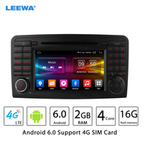 LEEWA 7 Android 6.0 (64bit) 2G/16G/4G Quad Core Car DVD GPS Radio Head Unit For Mercedes Benz ML W164 ML300/ML350/ML450/ML500